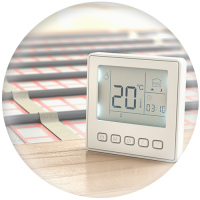 Fußbodenheizung und Thermometer